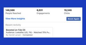 Facebook ad engagement results