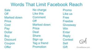 Words that limit Facebook reach