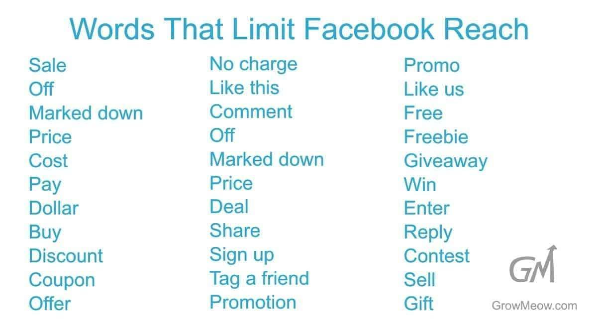 Words that limit Facebook reach