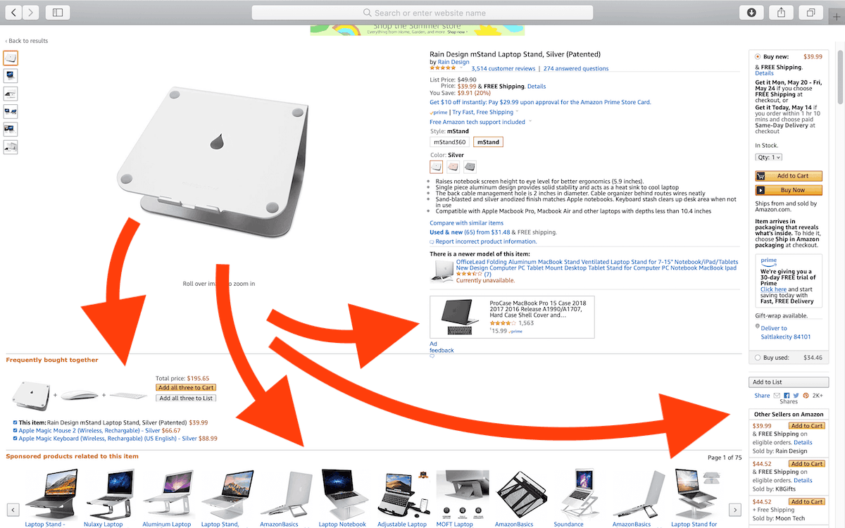 Amazon listing screenshot showing all the competitor ads