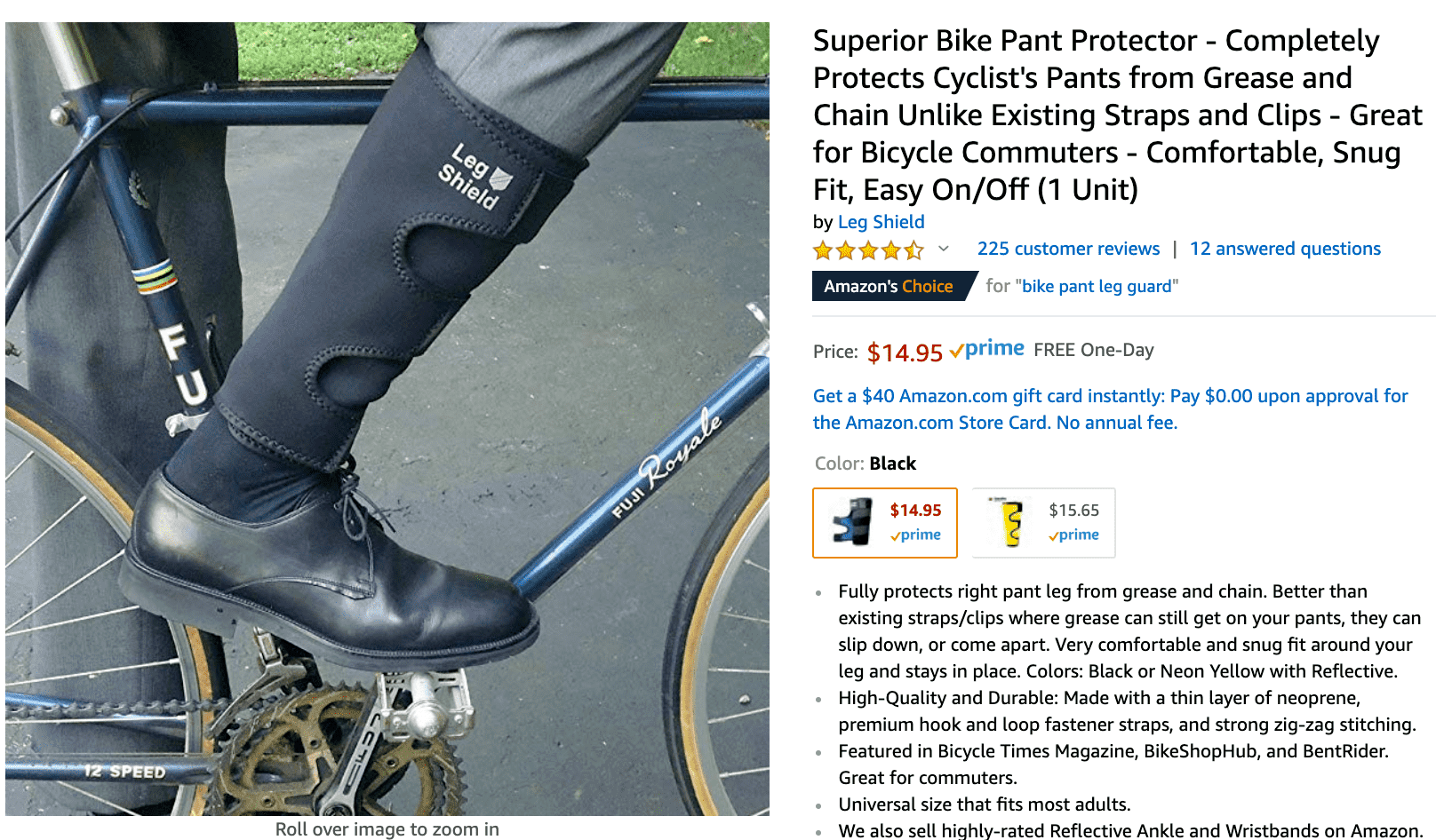 screenshot of a cycling product for sale on Amazon