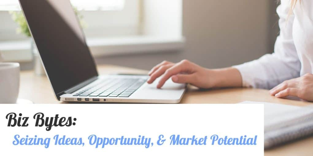 Laptop, with text overlay: seizing ideas, opportunity, & market potential